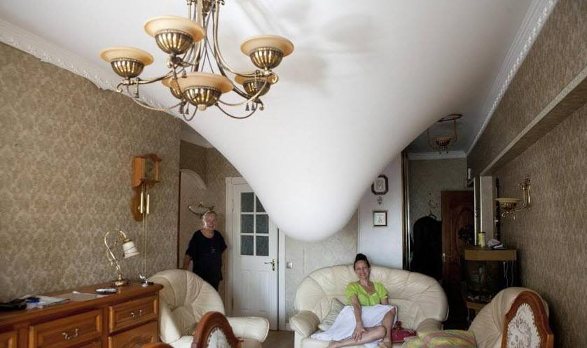 Натяжной потолок выдерживает до 150 литров